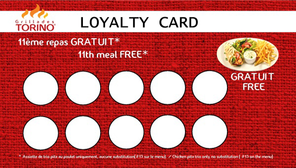 Torino Grill loyalty card